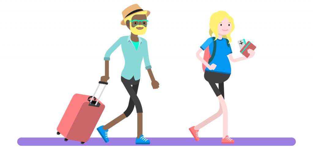 Nainen ja mies matkustavat